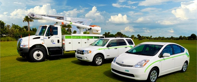 Some of Florida Power & Light's green vehicle fleet. Photo courtesy Florida Power & Light.