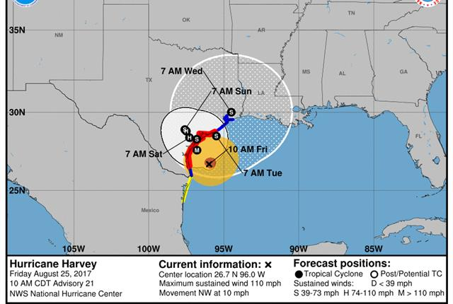 The National Hurricane Center is advising against all but essential local travel on roadways affected by Hurricane Harvey. Photo: National Hurricane Center