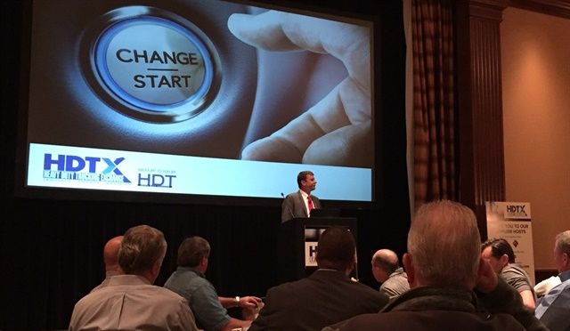 Jeff Sass addressing attendees of first HDTX fleet networking conference.