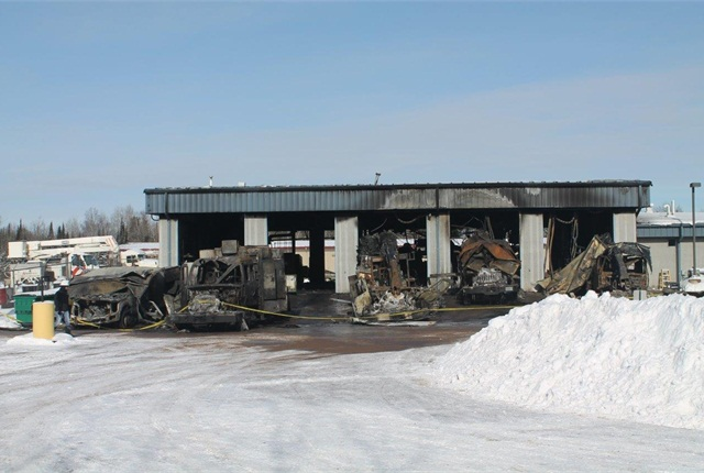 The Xcel Energy garage following the aftermath of the fire. Photos courtesy of Xcel Energy