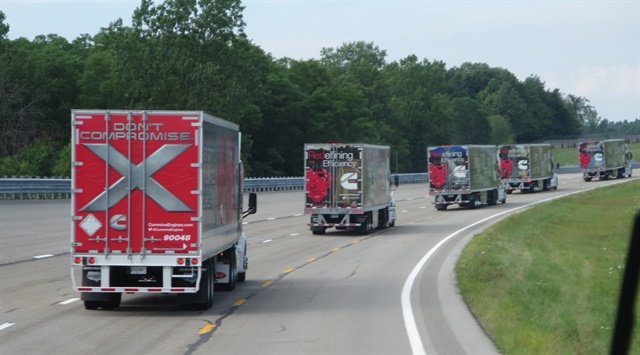 A parade of X15-powered tractor-trailers led the press bus to presentations at the Transportation Research Center in central Ohio. Photos: Tom Berg