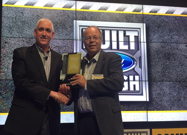 Ford's John Ruppert (left) accepts the Medium-Duty Truck of the Year award from Work Truck Editor Mike Antich. Photo by Chris Brown.