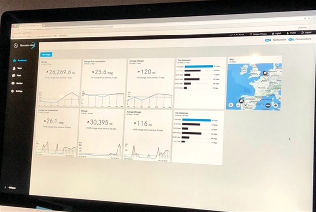 Photo of Mercedes-Benz Pro Connect dashboard by Paul Clinton.