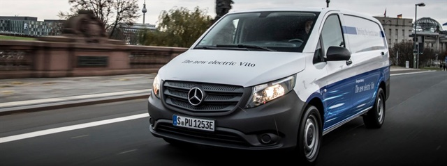 European-model Mercedes-Benz Vito electric van. The Vito is sold on this side of the Atlantic as the Metris. Photo: Mercedes-Benz Vans