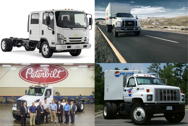 (Clockwise from top left) GM's new cabover, Ford's 2016 F-650, GM's Navistar partnership, and Peterbilt's Model 567