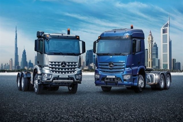 The Mercedes-Benz Actros (right) and Arocs courtesy of Daimler.