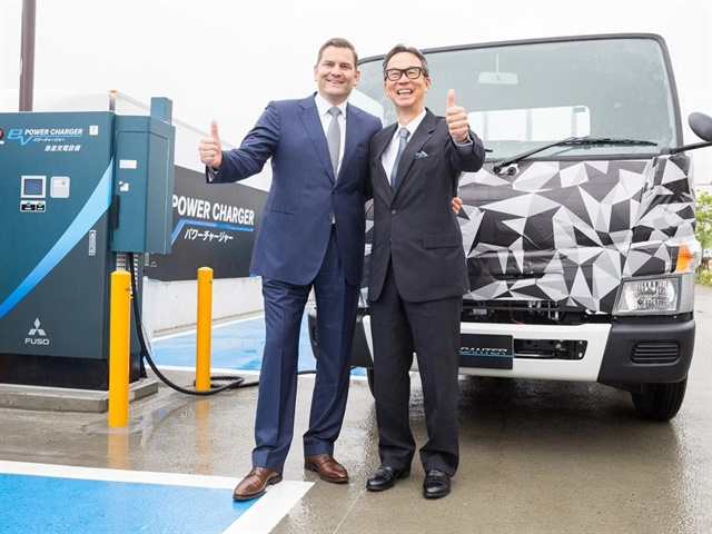 """The """"FUSO EV power charger"""" consists of eight chargers in two locations, which provide DC 50-500 Volt, 125 Ampere via CHAdeMO, and CHAdeMO Compo charging plugs. (Photo courtesy of FUSO)"""