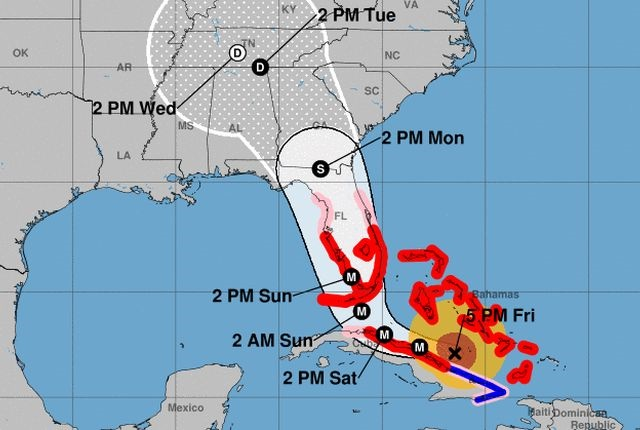 Graphic of Hurricane Irma forecast via NOAA.