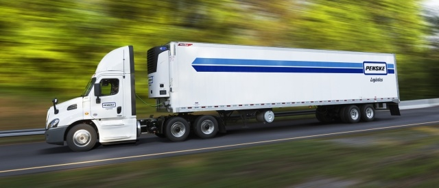 The foundation includes event-triggered onboard cameras from SmartDrive that face inside the truck cab, and outwards to the road, along with an ongoing driver safety coaching program. (Photo courtesy of Penske)
