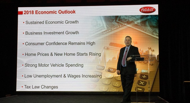 Peterbilt General Manager Kyle Quinn outlines why the truck maker is optimistic about a strong year in truck sales. Photo: Deborah Lockridge