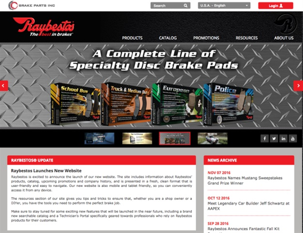 Screen capture of Raybestos.com courtesy of Raybestos