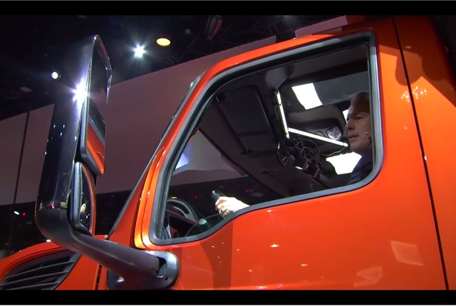 A new stronger door features a larger window for better visibility. Photo: Navistar Facebook Live video