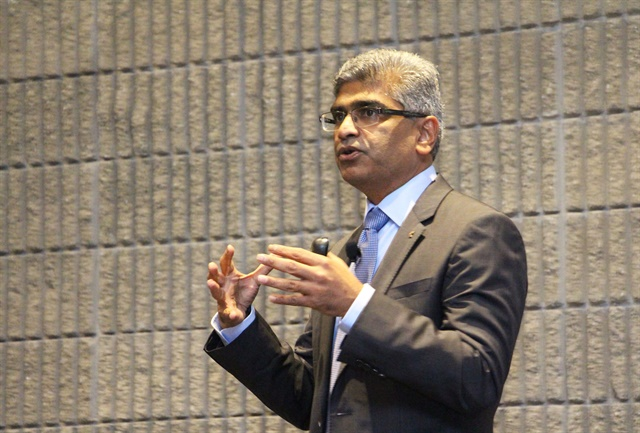 """We win in the marketplace by seeing the future first, and beating the competition to it,"" proclaimed Srikanth Padmanabhab, president of the Cummins engine business. Photo: Evan Lockridge"