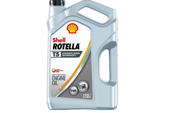 Shell's T5 10W-30 Synthetic Blend is one of the three Shell oils approved for Ford's Super Duty trucks that meet the API CK-4 specification. Photo: Shell Rotella