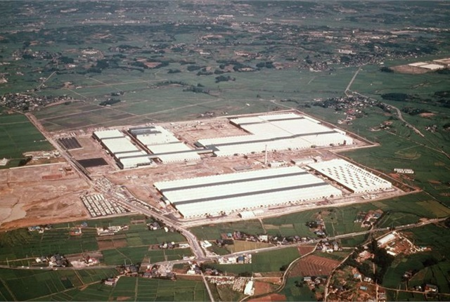 Aerial view of the Tsutsumi Plant, where Toyota assembles the Prius hybrid, courtesy of Toyota.