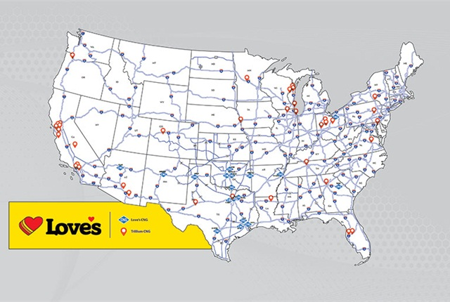 The acqurisition will add 37 public-access CNG locations to Love's network. Image: Love's