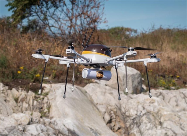 The UPS drone used to deliver medicine to a remote location in a mock test. Photo: UPS