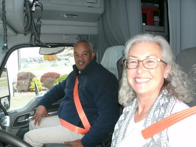 FMCSA Administrator Scott Darling and professional driver Stephanie Klang. Photo via Women in Trucking