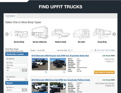 Locator Service consolidates in-stock inventory on one platform to help a manufacturer or distributor's sales reps locate upfits on their stocking dealer's lot. (Image courtesy of Work Truck Solutions)