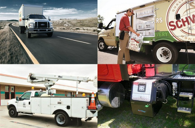 Clockwise (l.-r.) Ford's F-750 gets an update, Schwan's Home Service realizes benefits from propane autogas,fleets have a wide range of choices for auxiliary equipment, for fleets choosing gasoline over diesel might be the best bet.