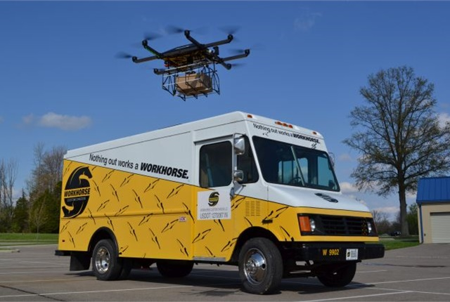 Workhorse has been testing its HorseFly UAS delivery drone system for the past six months, which is launched from the roof of the E-Gen electric delivery truck. (PHOTO: Workhorse)