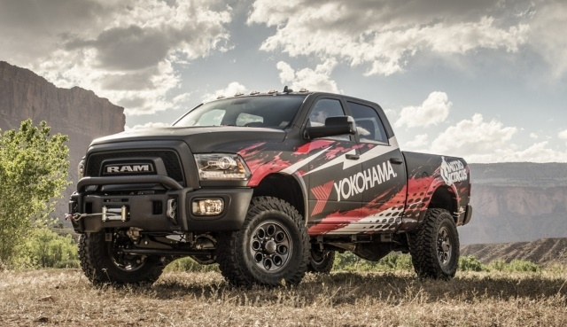 The grand prize Ram 2500 Power Wagon features modifications including a three-inch dual sport SC lifted suspension, a premium front off-road bumper, 17x8.5 Katla onyx black wheels, and front and rear differential covers. (Photo: Yokohama)