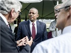 Secretary of Transportation Foxx (center) speaking with attendees at a DOT event. Photo: The White House