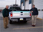 Pennsylvania American Water launched a 2013 pilot with four CNG-powered Ford F-250 trucks based in Punxsutawney and Coatesville. In the photo are Pennsylvania American Water's Production Manager Bob Schnitzler (left) and Engineering Project Manager Joel Mitchell. (Photo: Pennsylvania American Water)