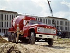 A 1962 Ford F-850 truck with concrete mixer at a job site. Photo: Ford Archives