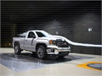 A 2014 GMC Sierra pickup undergoes testing in the GM Aerodynamics testing. Time spent in the lab led to advancements in body design and sealing.