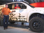 "Fresh off the trails of the rugged Alaskan terrain, Nissan's ""Project Titan"" makes its public debut at the State Fair of Texas in Dallas. The one-off Nissan Titan PRO-4X will be on display for fans through Sunday, October 19 inside the Centennial Building located inside Gate 2.  (PHOTO: Nissan)"