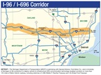 Screen capture of I-96 and I-696 corridor obtained from Michigan.gov site.