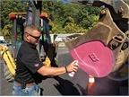 More than 20 backhoe buckets were painted for the cause and dozens of service technicians will help spread awareness of breast cancer throughout the month. (Photo courtesy of Columbia Gas of Ohio)<br />