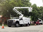 Photo of F-550 chassis cab with aerial courtesy of Ford.