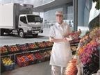 The Mitsubishi Fuso FE160 refrigerated truck is ideal for food and beverage delivery.