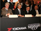 Mississippi Governor Phil Bryant and Hikomitsu Noji, president and representative director of The Yokohama Rubber Co., Litd., at the plant signing ceremony in West Point, Miss.