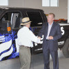 Jack Roush, founder and chairman of the board of directors for ROUSH Enterprises, presented the keys to the first production 2010 ROUSH liquid propane-injected Ford F-250 to Ferrellgas President and Chief Operating Officer Steve Wambold.