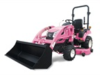KIOTI's popular new CS2410 subcompact tractor, shown with pink paint developed exclusively for display in KIOTI's booth at the upcoming Sunbelt Ag Exposition in Moultrie, Ga. The tractor will be auctioned off with all proceeds being donated by KIOTI Tractor to breast cancer research