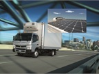 FUSO Canter with eNow Auxiliary Solar Power option. Inset shows solar panels on top of box.