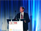 Shell Global Road Safety Manager Mike Watson addresses the 2015 Fleet Safety Conference. Photo by Chris Wolski.