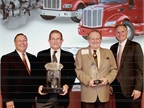 (L-R) Robert Woodall, Peterbilt Director of Sales and Marketing; Rusty Rush, Rush Enterprise, Inc.; Marvin Rush, Rush Enterprise, Inc.; and Bill Kozek, Peterbilt General Manager and PACCAR Vice President.
