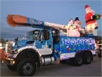 Photos courtesy of PG&E Currents.This bucket truck was part of the King City holiday parade. (Photo by Tim Sizemore.)