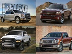 (clockwise from upper l.) 2017 F-150, Silverado 1500, Titan, and Ram 1500. Photos courtesy of Ford, GM, FCA, and Nissan.