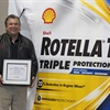 Jerry Kissinger, driver of a 1991 Mack Superliner, was honored as the first U.S. inductee into the Shell Rotella Million Mile Haul of Fame at MATS.