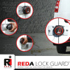 "The Reda Lock Guard helps protect ""hockey puck"" locks from the elements."