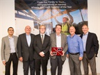 (From left to right) Ahsan Rahim, COO, Wheels; Dave Decker, director, strategic planning, Canfield; Nate Gibson, VP of sales, Canfield; Larry Gibson, president and CEO, Canfield; Joe Brightwell, supply chain manager, Wheels; Steve Wolff, VP of operations, Wheels