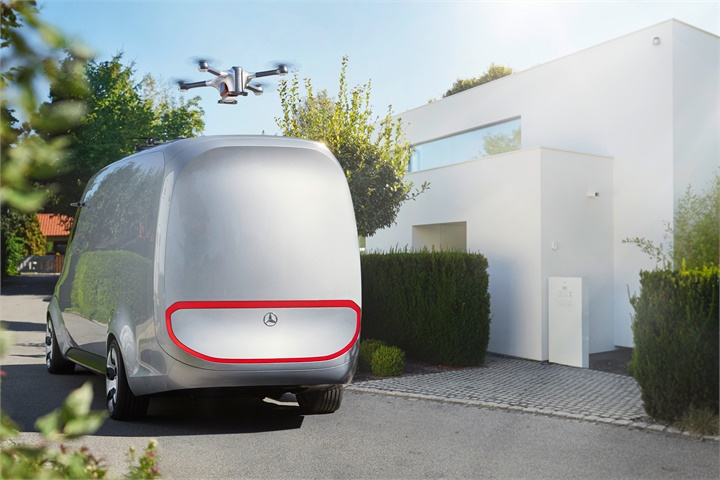 The drones drop off the parcels and return to the Vision Van at one of