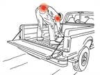 Standing on a tailgate or in-bed and stooping down to lift objects off