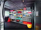 Full rack and bin systems can keep vans organized and tools and