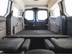The longer wheelbase provides additional cargo volume, when the seats
